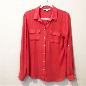 LOFT Coral Button Down Blouse